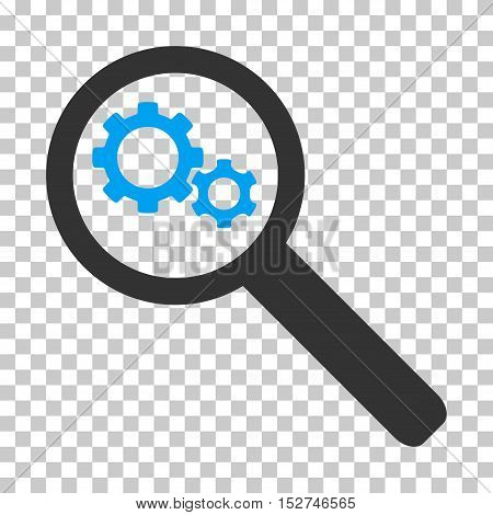 Blue And Gray Search Gears Tool interface pictogram. Vector pictograph style is a flat bicolor symbol on chess transparent background.