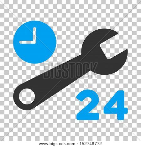 Blue And Gray Service Hours toolbar pictogram. Vector pictogram style is a flat bicolor symbol on chess transparent background.