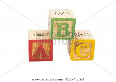 Letters Blocks ABC isolated on white background