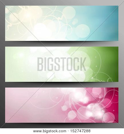 Set Of Light Festive Banners With Shine And Twinkle