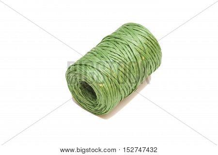 bundle of plastic rope on white background
