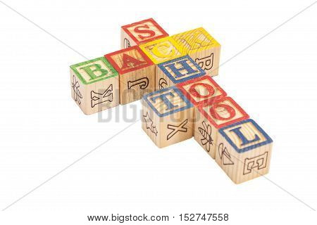 Toy wooden blocks spelling Back To School