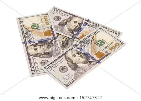 One hundred dollar banknotes isolated on white