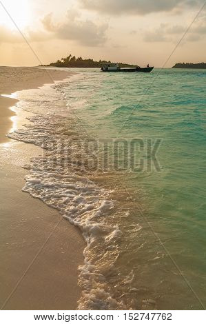 Coast Of A Tropical Island With Sand At Sunset, Maldives