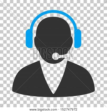 Blue And Gray Support Operator interface icon. Vector pictogram style is a flat bicolor symbol on chess transparent background.