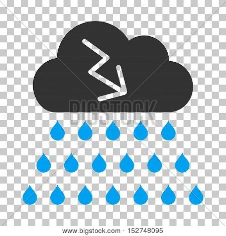 Blue And Gray Thunderstorm Rain Cloud toolbar pictogram. Vector pictograph style is a flat bicolor symbol on chess transparent background.