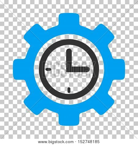Blue And Gray Time Setup Gear interface icon. Vector pictograph style is a flat bicolor symbol on chess transparent background.