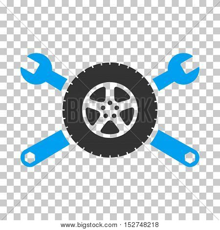 Blue And Gray Tire Service Wrenches interface toolbar pictogram. Vector pictogram style is a flat bicolor symbol on chess transparent background.