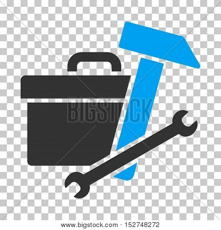 Blue And Gray Toolbox interface pictogram. Vector pictograph style is a flat bicolor symbol on chess transparent background.