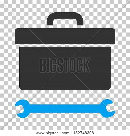 Blue And Gray Toolbox interface pictogram. Vector pictogram style is a flat bicolor symbol on chess transparent background.