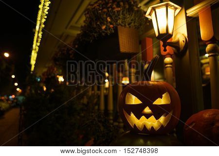 lantern pumpkin Jack-o-lantern halloween decoration on the streets.
