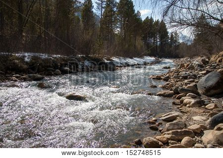 view of the fast mountain river with rocky shores in spring