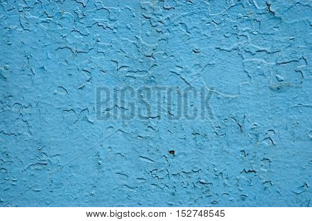 blue old paint on the metal surface