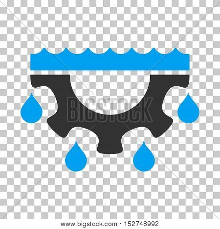 Blue And Gray Water Gear Drops interface toolbar pictogram. Vector pictograph style is a flat bicolor symbol on chess transparent background.