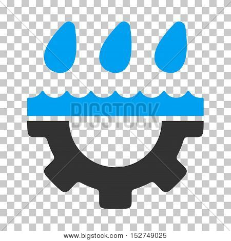 Blue And Gray Water Gear Drops toolbar pictogram. Vector pictograph style is a flat bicolor symbol on chess transparent background.