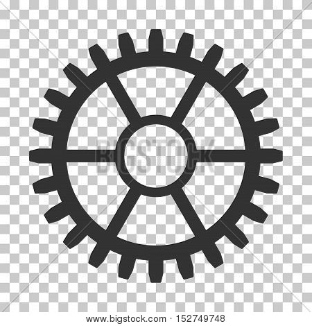 Gray Clock Wheel interface pictogram. Vector pictogram style is a flat symbol on chess transparent background.