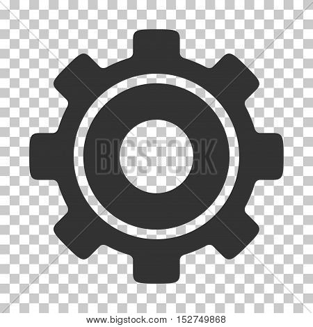 Gray Cog interface icon. Vector pictogram style is a flat symbol on chess transparent background.