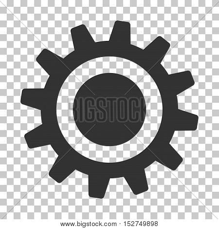 Gray Cog toolbar icon. Vector pictograph style is a flat symbol on chess transparent background.