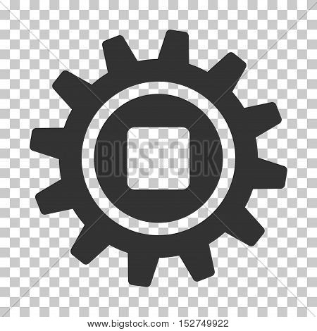 Gray Cog interface icon. Vector pictograph style is a flat symbol on chess transparent background.