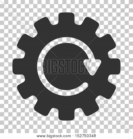 Gray Gearwheel Rotation interface icon. Vector pictograph style is a flat symbol on chess transparent background.