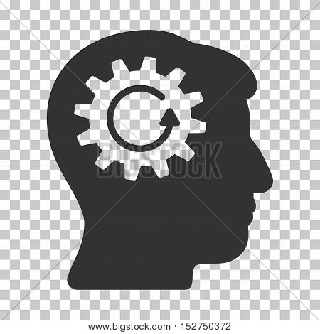 Gray Head Gear Rotation interface toolbar icon. Vector pictogram style is a flat symbol on chess transparent background.