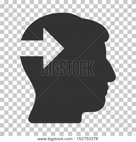 Gray Head Plug-In Arrow toolbar icon. Vector pictogram style is a flat symbol on chess transparent background.