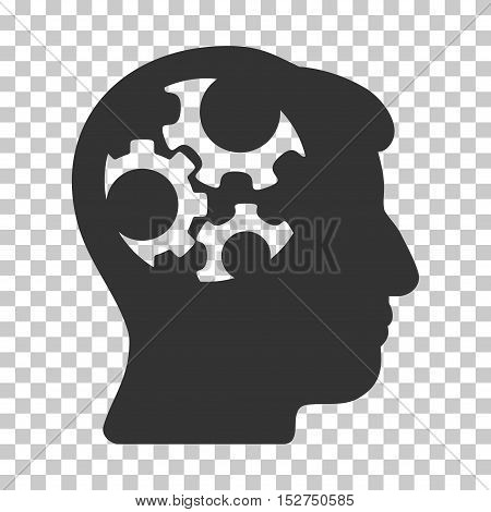 Gray Mind Gears interface icon. Vector pictogram style is a flat symbol on chess transparent background.