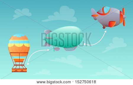 History of Aviation. Aerostat, airship and aircraft on sky background. Vector illustration