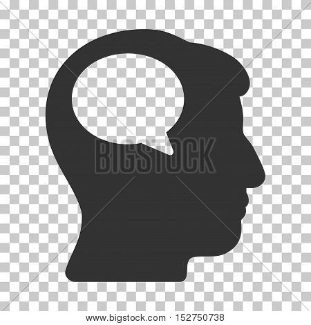 Gray Person Thinking interface icon. Vector pictogram style is a flat symbol on chess transparent background.