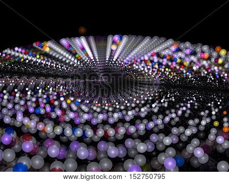 Abstract blurred festive background - computer-generated image. Fractal art: ring of glowing balls of different colors. For cards, covers, banners
