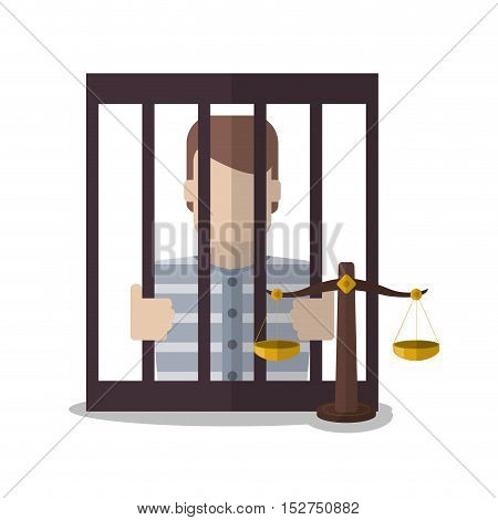 Guilty inside jail and balance icon. Law justice legal and judgment theme. Colorful design. Vector illustration