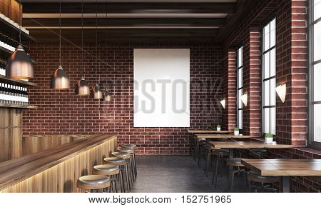 Bar Interior With Poster And Stools
