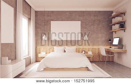 Sunlit Bedroom With Study Corner