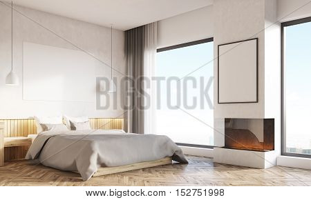 Home Office And Master Bedroom With Two Windows