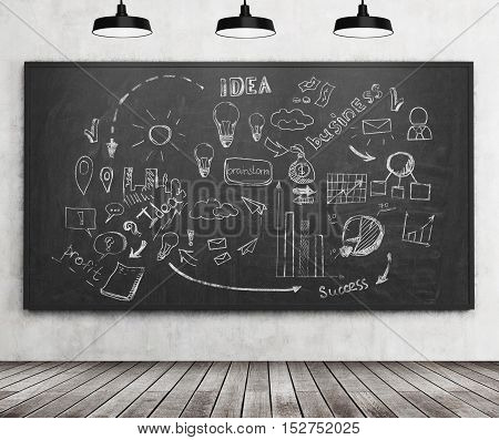 Business idea sketch drawn on blackboard with markers. Concept of strategic thinking. 3d rendering.