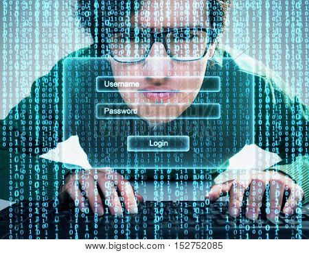 Close Up Of Nerdy Guy Trying To Log In