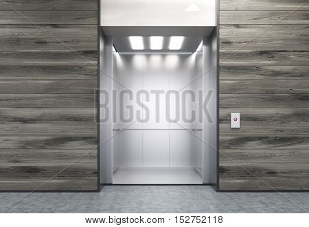 Wooden wall with open elevator in modern office. Concept of working in high building. 3d rendering. Mock up