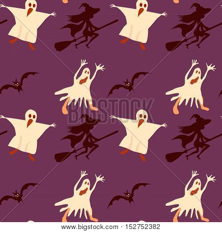 Halloween seamless pattern. Bat witch ghost. Vector background
