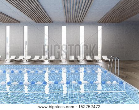 Side view of public pool with clear water and wooden floor. Large city panorama is seen through window. Concept of being active. 3d rendering