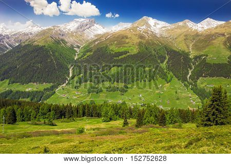 View To Swiss Alps From The Top Of Rinerhorn Mountain, Davos, Grison, Switzerland