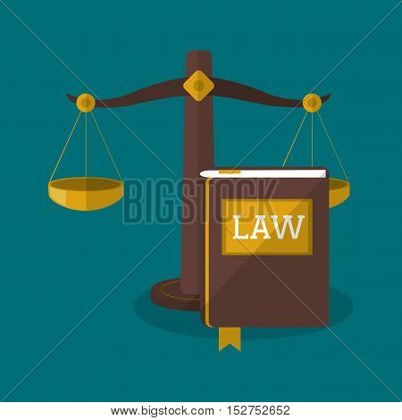Balance and book icon. Law justice legal and judgment theme. Colorful design. Vector illustration