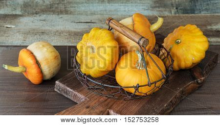 Several orange decorative pumpkins and patissons in a mesh metal basket on a dark wooden background