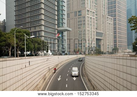 Shanghai Lujiazui At Modern Buildings Backgrounds Streetscape