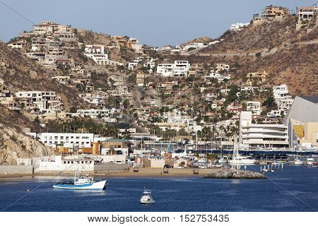 The view of Cabo San Lucas town famous resort in Mexico.