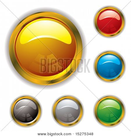 Circular gel filled icons with gold bevel and drop shadow