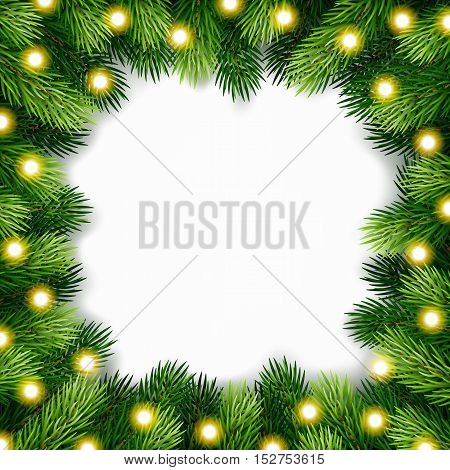 Detailed christmas wreath of fir twigs for greeting card, poster, banner, website, header. Vector illustration.