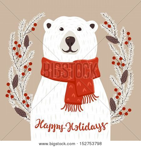 Winter greeting card of a cute hand drawn polar bear with calligraphy phrases. Christmas background with smiling cartoon character.
