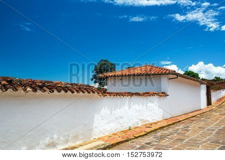 A white colonial architecture in Barichara Colombia