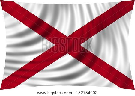 Flag of the US state of Alabama. American patriotic element. USA banner. United States of America symbol. Alabamian official flag waving isolated on white 3d illustration