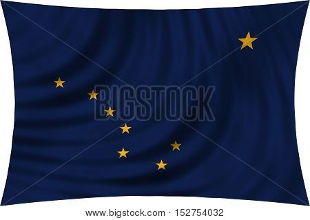 Flag of the US state of Alaska. American patriotic element. USA banner. United States of America symbol. Alaskan official flag waving isolated on white 3d illustration